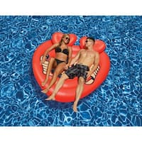 """63"""" Heart Shaped Tattoo Island Novelty Swimming Pool Inflatable Floating Raft - Red"""