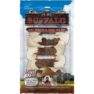 "Pure Buffalo 3""-4"" Buffalo Jerky Wrapped Rawhide Bone 5/Pkg-"