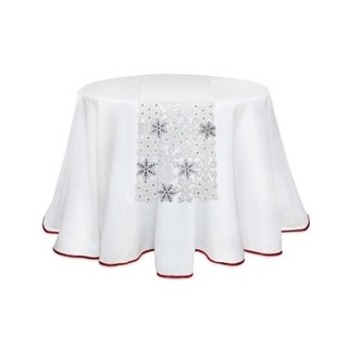 Pack of 4 White and Silver Snowflake Cutout Christmas Table Runners 72""