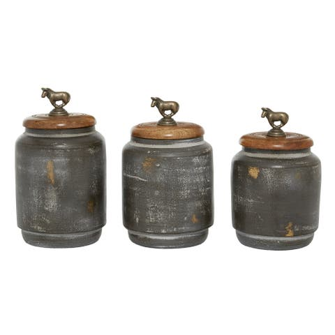3 Pcs Canister Sets For Kitchen Counter Rustic Bohemian Storage Jars Dark Grey - 5 x 5 x 9