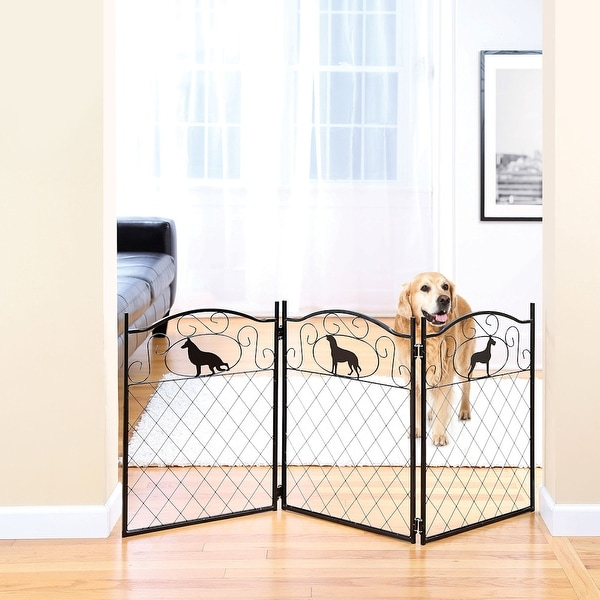 Shop Metal Dog Silhouette Pet Dog Gate Free Standing Tri