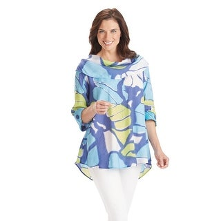 Women's Cowl Neck Tunic Top - Blue Butterfly Wings Print 3/4 Sleeves Blouse