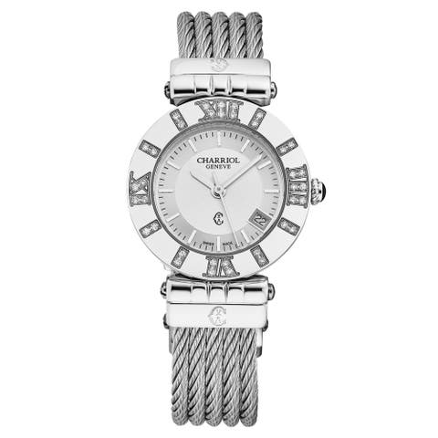 Charriol Women's ACSSD.51A.810 'Alexandre C' Silver Dial Diamond Swiss Quartz Watch