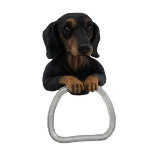 Darling Dachshund Dog Wall Mounted Towel Holder - Black
