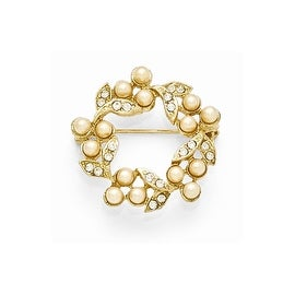 Goldtone Downton Abbey Glass and Simulated Pearl Wreath Pin