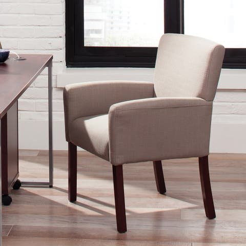 Essentials by OFM Tan Executive Guest Armchair with Wooden Legs