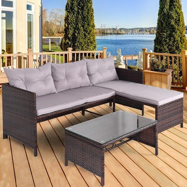 Shop Costway 3 Pcs Outdoor Rattan Furniture Sofa Set Lounge Chaise