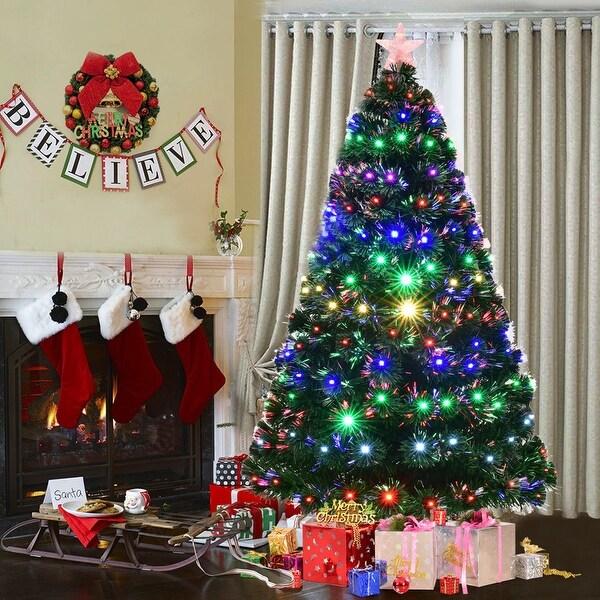 Christmas Tree Fiber Optic Lights: Shop Costway 7' Pre-Lit Fiber Optic Artificial Christmas