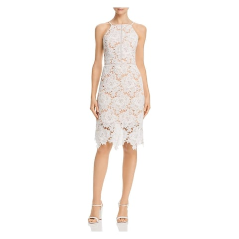 ADELYN RAE White Sleeveless Below The Knee Dress L