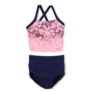 Elliewear Little Girls Navy Pink Lace Overlay Top Brief 2 Pc Dance Set