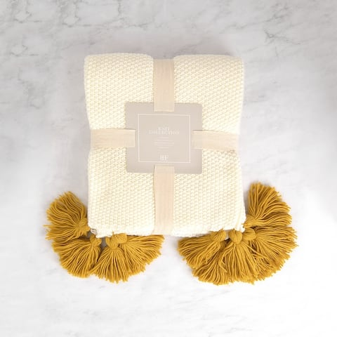 Aurora Home Big Tassel Knit Throw