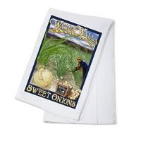 Walla Walla, Washington - Sweet Onions - LP Art (100% Cotton Towel Absorbent)