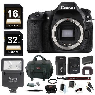 Canon EOS 80D DSLR Camera (Body) w/ Slave Flash & 48GB Bundle