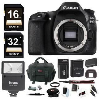 Canon EOS 80D DSLR Camera (Body) w/ Slave Flash & 48GB Bundle