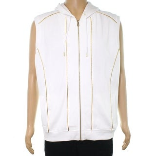 INC Bright White Mens Size Large L Hooded Gold Piping Vest Sweater