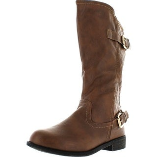 Lucky Top Fay-10K Children Girl's Quilted Block Heel Buckle Knee High Riding Boots