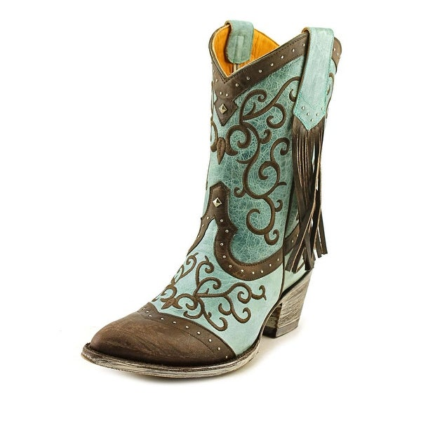 """Old Gringo Bacu 10"""" Women Pointed Toe Leather Blue Western Boot"""