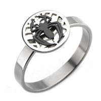 Marvel Comics Womens Spiderman Stainless Steel Ring - Silver