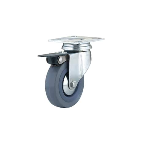 Richelieu F24787 130 lb. Maximum Weight Capacity Commercial Grade Swivel Mount Caster with Brake - Grey