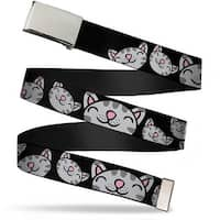 Blank Chrome  Buckle Multi Soft Kitty Face Black Webbing Web Belt