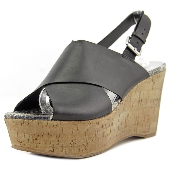 Marc Fisher Sesame Women Open Toe Leather Black Wedge Sandal