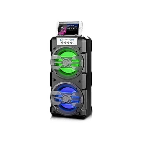 Technical Pro Rechargeable LED Bluetooth (30 Ft. range) Speaker, Built-in Battery and Handle