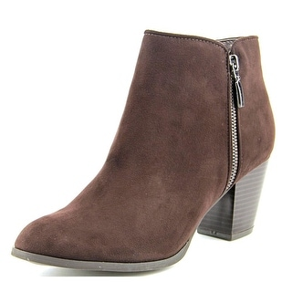 Style & Co Jamila Zip Bootie Women Round Toe Synthetic Brown Ankle Boot