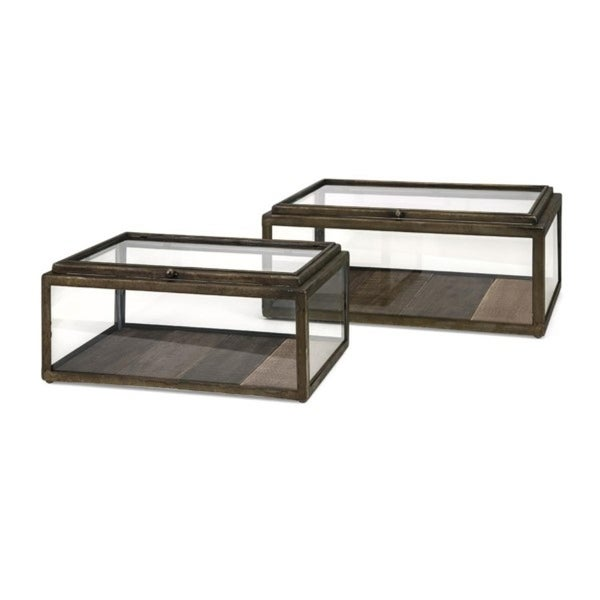 """Set of 2 Chocolate Brown Glass Paneled Wooden Display Boxes with Hinged Lids 16"""" - N/A"""