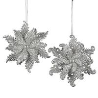 Club Pack of 24 Silver Glitter Elegant Winter Snowflake Christmas Ornaments