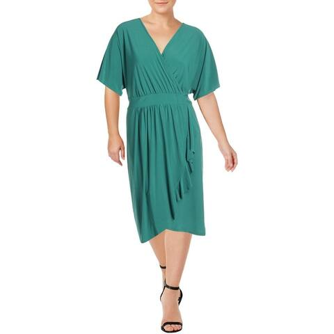 Love Squared Womens Plus Party Dress Ruffled Faux Wrap