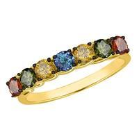 Prism Jewel 0.88 Carat Mulit Color Diamond 7-Stone Band
