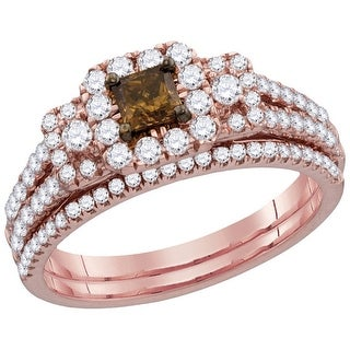 14kt Rose Gold Womens Cognac-brown Diamond Princess Bridal Wedding Engagement Ring Band Set 1 & 1/12 Ctw - Brown/White