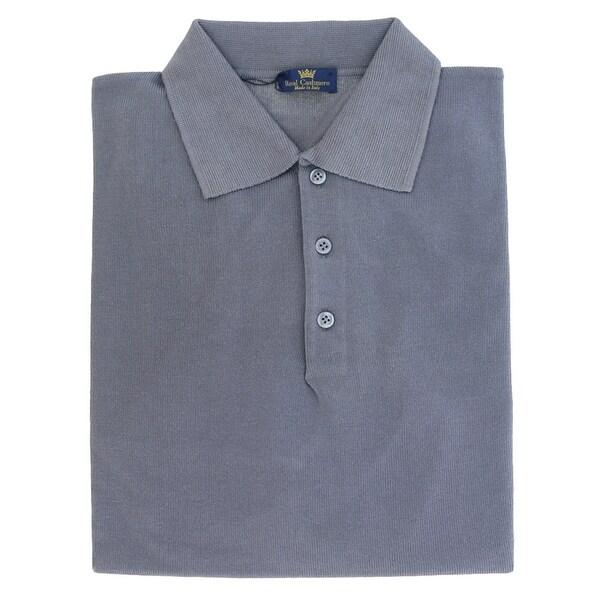 Real Cashmere Polo Big Mens Indigo Sweater