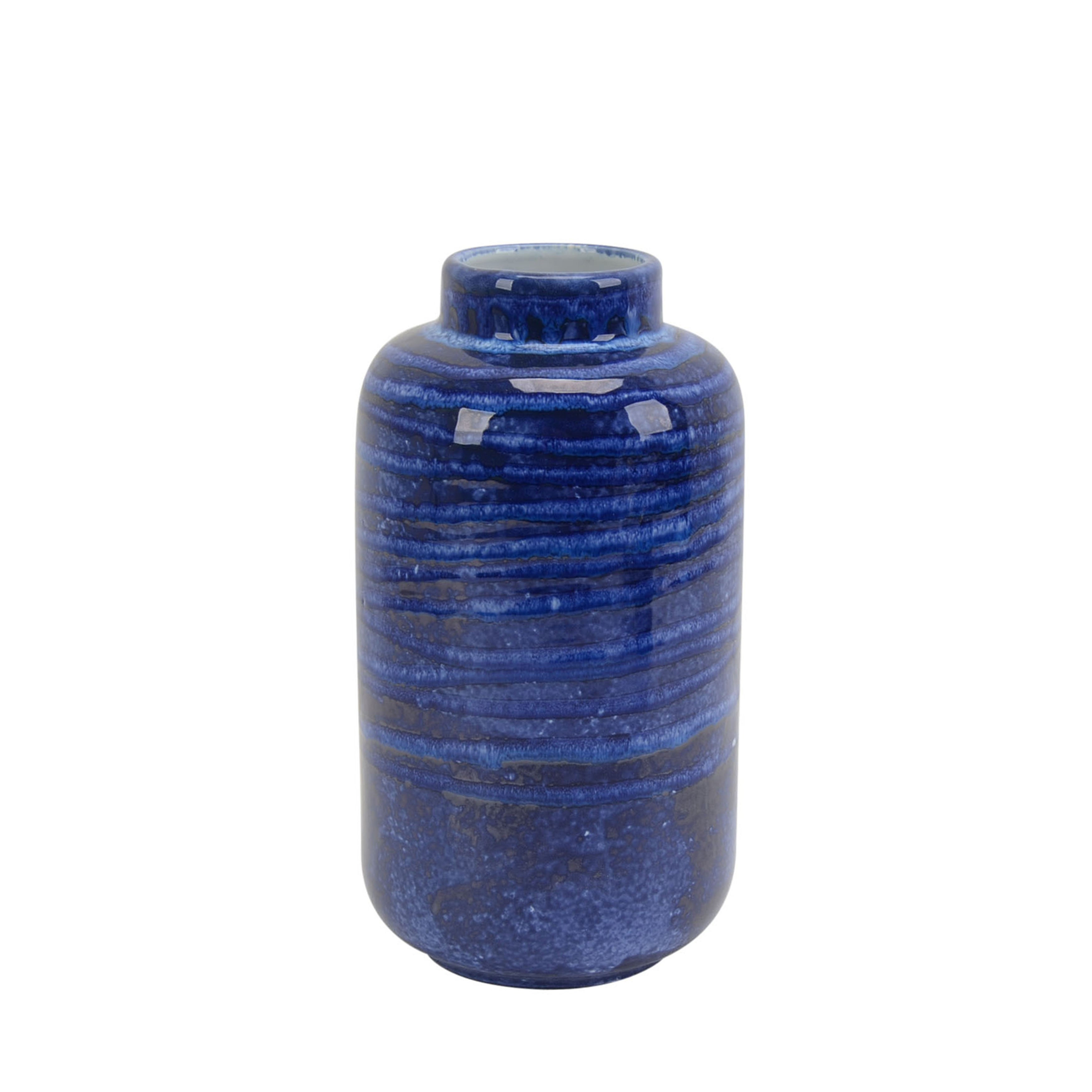 Transitional Ceramic Vase with Round Opening, Blue