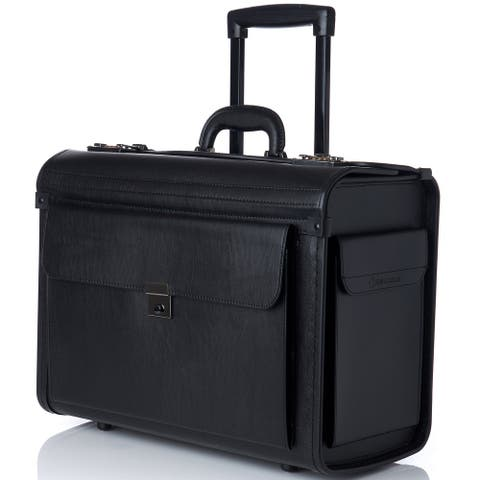 "Alpine Swiss Rolling 17"" Laptop Briefcase on Wheels Attache Lawyers Case Legal Size - Black - One Size"