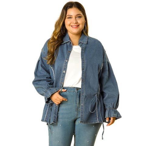 Women's Plus Size Long Sleeve Top Belted Chambray Denim Shirt
