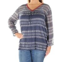 LUCKY BRAND Womens Blue Geometric Long Sleeve V Neck Blouse Top  Size: XS