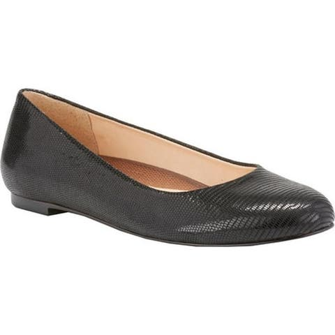 Walking Cradles Women's Bronwyn Ballet Flat Black Lizard Print Patent Leather