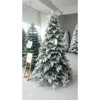 "7.5' x 70"" Pre-Lit Frosted Butte Fir Artificial Christmas Tree - Clear Lights - green"
