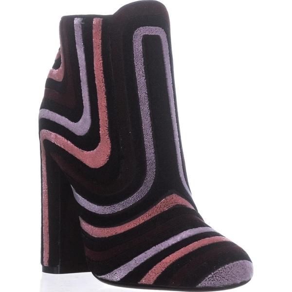 Salvatore Ferragamo Feel Side-Zip Block Heel Booties, Cam Nero - 6.5 us