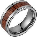 Tungsten Wedding Band With Koa Wood Inlay 8mm - Thumbnail 0