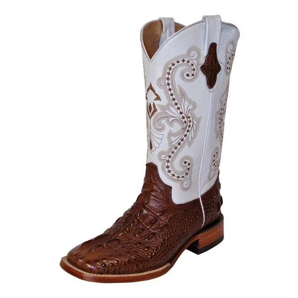 Ferrini Western Boots Womens Hornback Caiman Chocolate White