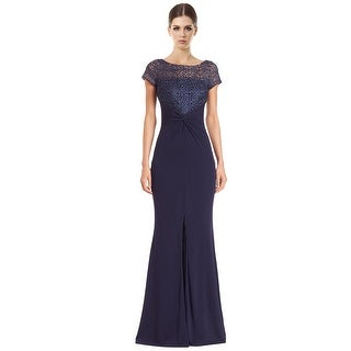 David Meister Lace Bodice Short Sleeve Jersey Evening Gown Dress - 12