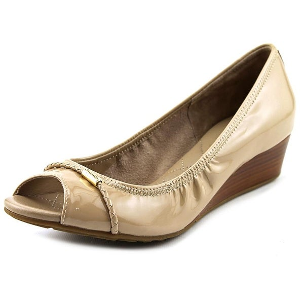 Cole Haan Tali Ot.DetWedge.40 Women Open Toe Patent Leather Nude Wedge Heel