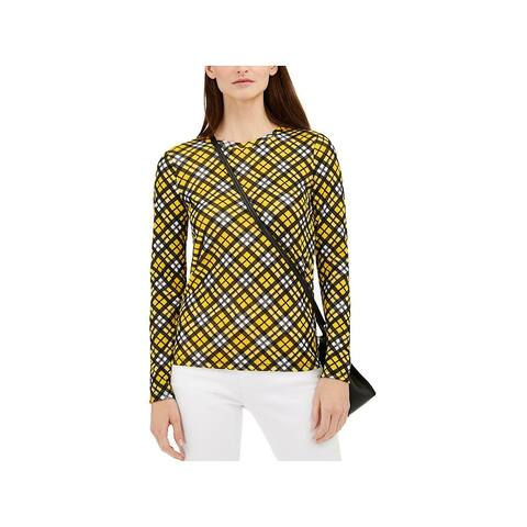 MICHAEL KORS Womens Yellow Plaid Long Sleeve Sweater Size L
