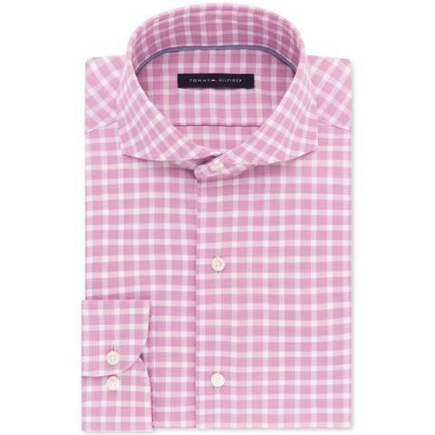 Tommy Hilfiger Mens Check Button Up Dress Shirt