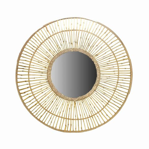 Round Bamboo Wall Mirror with Sunburst and Rope Weaving, Brown