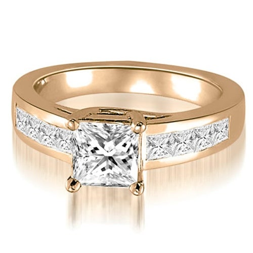 1.00 cttw. 14K Rose Gold Trellis Princess Cut Diamond Engagement Ring