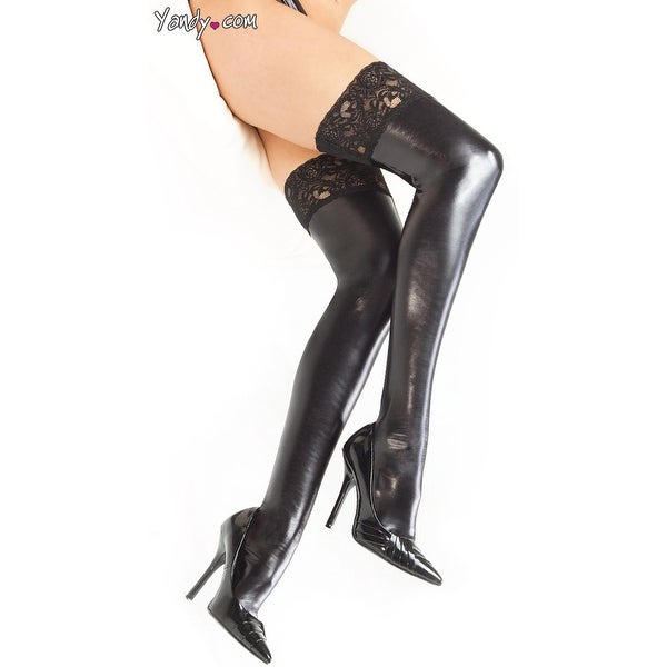 e9db3530149 Shop Plus Size Wet Look Thigh Highs With Lace Top