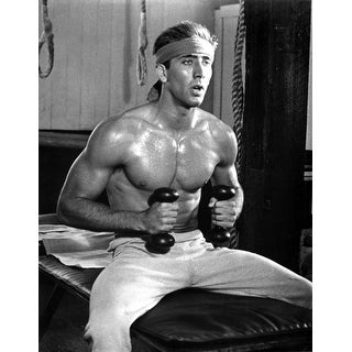 Shop film still of nicolas cage working out in a gym photo print